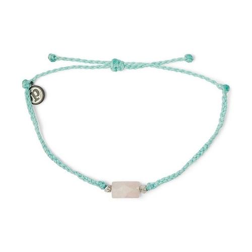 Pura Vida 美國手工 Rose Quartz Stone Bead 粉晶石 綠色蠟線衝浪手鍊手環