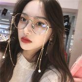 金屬金邊ins鍊條珍珠眼鏡女韓版潮近視眼鏡框架ulzzang圓形厚邊鏡