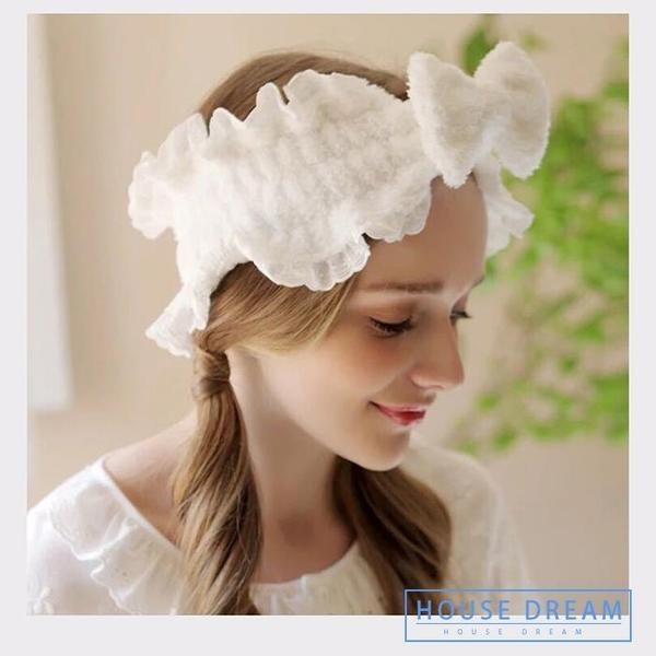 頭巾 發帶蕾絲花邊蝴蝶結頭套女 洗臉發箍 韓國可愛頭巾