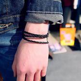 現貨-歐美流行先鋒時尚簡約潮男霸氣女生編織繩黑色個性手鍊手繩飾百搭A18