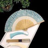 古風扇子 雙節扇復旗袍漢服碎花夏季隨身真絲小折疊竹扇舞蹈扇