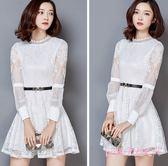 Pink中大尺碼長袖蕾絲洋裝2018秋冬季新款白色黑色中長款收腰修身顯瘦氣質A字裙子LXY876