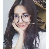 現貨-韓版超大框大臉顯瘦款眼鏡框可配近視眼鏡男女復古金屬圓平光鏡架圓臉眼鏡圓框 87