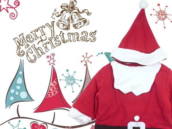 MERRY X'MAS 耶誕老公公連身造型衣.聖誕節必穿.附帽子