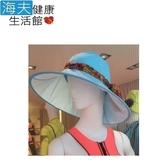 HOII正式授權 SunSoul 后益涼感 防曬 法式圓筒帽(藍)