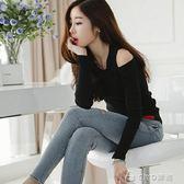 長袖T恤   修身性感長袖t恤女短款打底衫百搭黑色緊身露肩上衣   ciyo黛雅