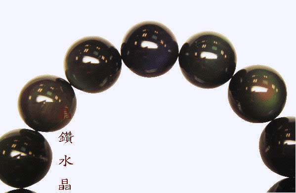『晶鑽水晶』黑曜石搭配白水晶手鍊~顆顆有彩虹光3A級 8mm備有兩款