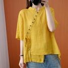 中大尺碼T恤 夏季復古立領短袖大碼女裝襯衫女系帶彩扣顯瘦洋氣遮肉不規則上衣