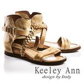 ★零碼出清★Keeley Ann民俗風情~一字辮編織纏繞全真皮低跟涼鞋(土黃色)-Ann系列