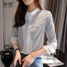 (促銷全場九折)新款春秋季雪紡襯衫女長袖黑白豎條紋拼接立領垂感打底上衣潮