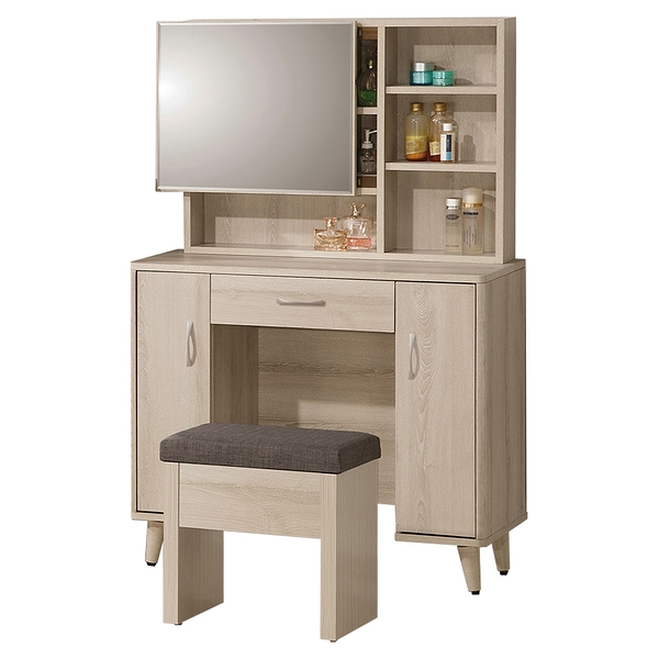 【森可家居】艾瑪3.2尺鏡台(含椅) 8ZX398-5 梳化妝檯