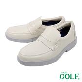 【GOLF】日本4E寬楦手工氣墊休閒鹿皮鞋 白色(GF12552-OWH)