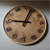 木痕原木色14英寸中式簡約木質掛鐘客廳裝飾靜音時鐘錶