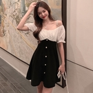 VK精品服飾 韓國風名媛珍珠細肩帶黑白假兩件短袖洋裝
