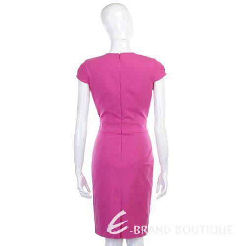 CLASS roberto cavalli 桃粉色V領短袖洋裝 1140261-41
