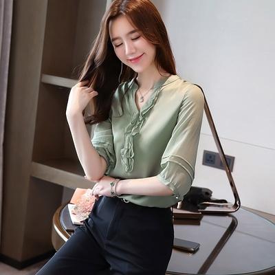 洋氣雪紡衫襯衫女夏裝新款純色短袖打底衫小衫韓版V領上衣服GD747-A胖妹大碼女裝