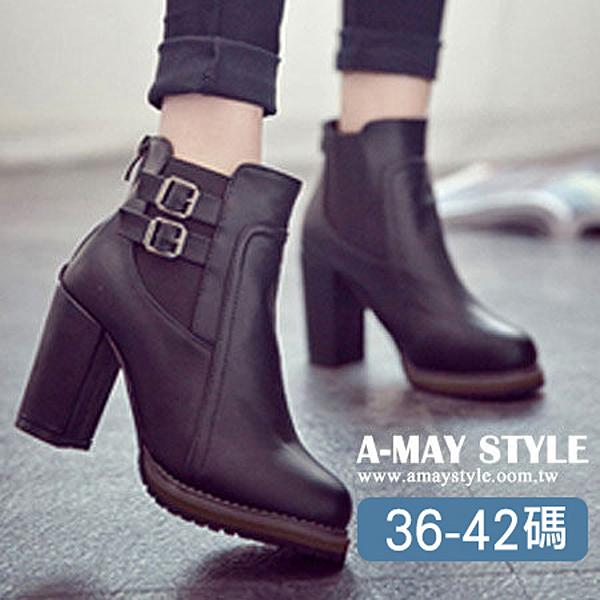短靴-皮帶扣帶高跟短靴(36-42加大碼)