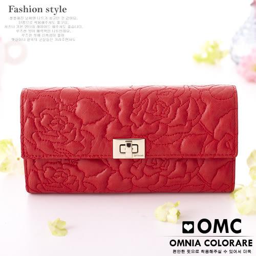 OMC - 優雅針織繡花牛皮長夾 - 時尚魅力紅
