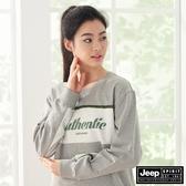 【JEEP】女裝文字撞色拼接長袖大學T恤-淺灰