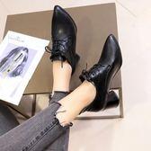 網紅女鞋子冬季新英倫風尖頭系帶粗跟高跟鞋女士加絨單鞋皮鞋