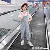 女童背帶褲2021年新款大兒童洋氣夏裝韓版寬鬆寶寶春秋季牛仔褲子 蘇菲小店