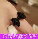 ►復古黑色鑲鑽蝴蝶結戒指 指環 可調節【B2007】