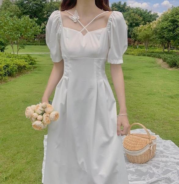 雪紡洋裝 法式赫本溫柔風白色雪紡連身裙2020夏超仙女森系收腰顯瘦氣質裙子