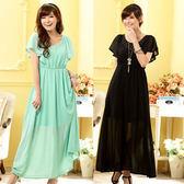 中大尺碼~  美雅亮麗荷葉袖圓領釘珠松緊腰長版禮服連衣裙(2XL)