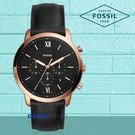 FOSSIL 手錶專賣店 國隆 FS5381 時尚三眼男錶 皮革錶帶 黑色錶面 防水50米 計時功能