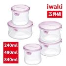 【iwaki】日本品牌耐熱玻璃保鮮盒五入組(240ml+490ml+840ml)