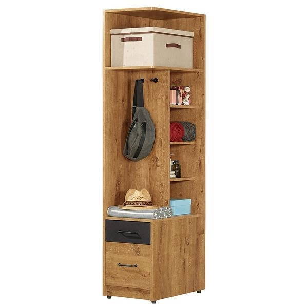 【森可家居】費利斯1.5尺二抽右桶衣櫥 8CM515-2 開放 衣櫃 木紋質感
