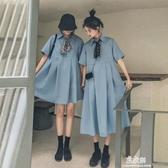 女學生寬鬆姐妹閨蜜裝桔梗法式春秋季森系洋裝子(快速出貨)