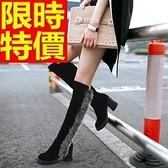 長靴-品味個性冬季潮流兔毛拼接粗跟過膝女馬靴64e16【巴黎精品】