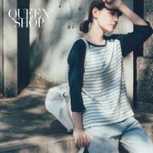 Queen Shop【01037336 】拼接條紋棒球棉T 三色售*預購*