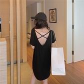 洋裝連身裙港風純棉網紅女泫雅風夏季露背中長款裙子1F009 依品國際
