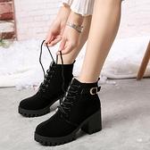 馬丁靴新款馬丁靴英倫風粗跟切爾西靴子小短靴女春秋單靴高跟鞋冬季 JUST M