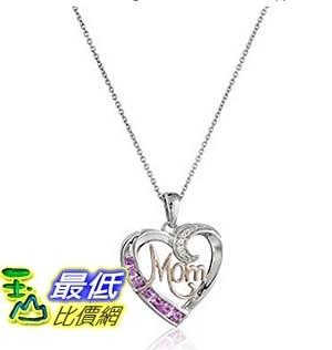 [美國直購] Sterling Silver Created Pink Sapphire with Created White Sapphire Mom Heart Pendant Necklace, 18 項鍊