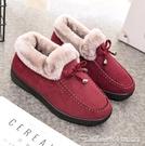 雪地靴老北京棉鞋女冬季保暖加絨加厚短款平底防滑雪地靴媽媽毛毛鞋
