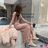 針織連身裙 秋冬新款復古溫柔風荷葉邊魚尾針織連身裙女修身打底過膝毛衣長裙 coco