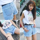 夏裝韓國復古BF風捲邊原宿牛仔短褲女韓版百搭高腰寬鬆學生闊腿褲