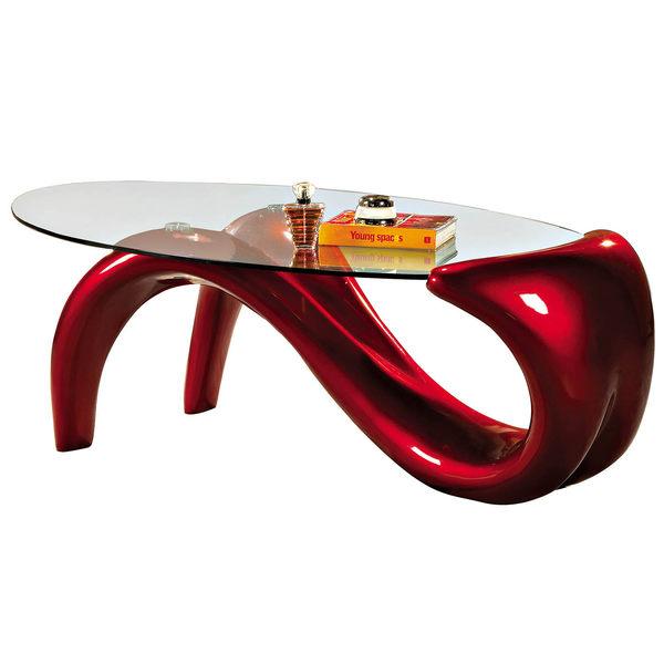 【森可家居】橢圓玻璃紅色造型茶几 7SB181-4