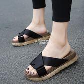 韓版新款休閒拖鞋女夏中跟外穿時尚涼拖厚底室外鬆糕鞋沙灘鞋 俏腳丫