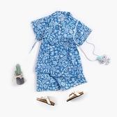 夏季藍色碎花日式和服 上衣+浴衣套裝 浴衣 嬰兒 造型服 新生兒 童裝 女童 現貨 橘魔法