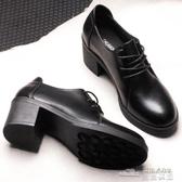 (快出) 冬季黑色小皮鞋女中跟上班工作鞋粗跟高跟單鞋職業正裝繫帶女鞋秋