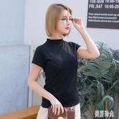 大尺碼棉質女裝短袖女t恤棉質立領打底衫純色上衣ins潮學生體恤 PA15709『美好时光』
