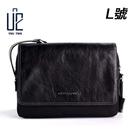 【U2】極簡黑真牛皮側背包/肩背包/MIT/台灣製_8910-5 L號下單區