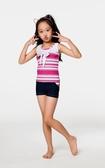 【 APPLE 】蘋果牌泳裝↘特賣~女童白底粉紅橫條裝飾綁帶二件式泳衣 贈泳帽 NO.106606