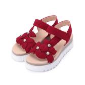 德國GABOR 反毛珍珠花朵厚底涼鞋 紅 23.611.15 女鞋