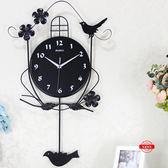 夜光歐式鐘錶掛鐘客廳現代創意墻壁鐘jy小鳥個性裝飾掛錶藝術搖擺鐘【全免運八五折超值】