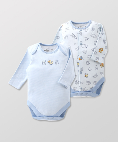 Hallmark Babies 男嬰春夏純棉長袖包屁衣兩件裝 HE1-B01-03-BB-MB
